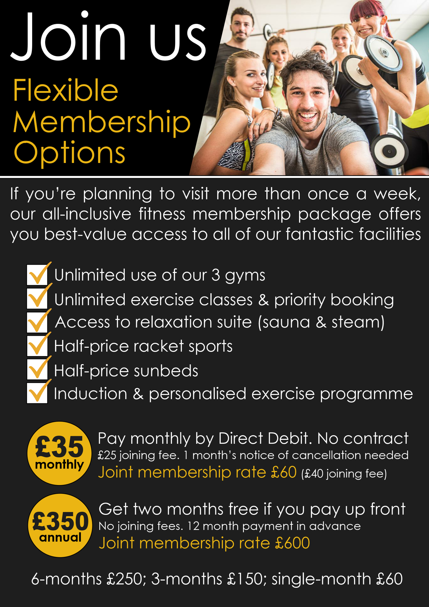 Website fitness memberships page